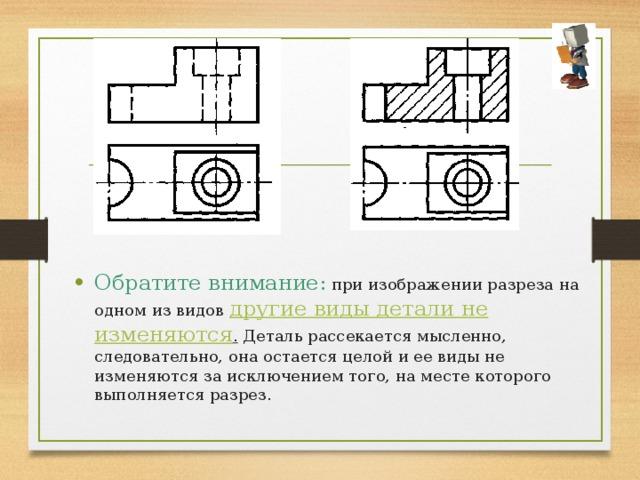 Обратите внимание: при изображении разреза на одном из видов другие виды детали не изменяются .