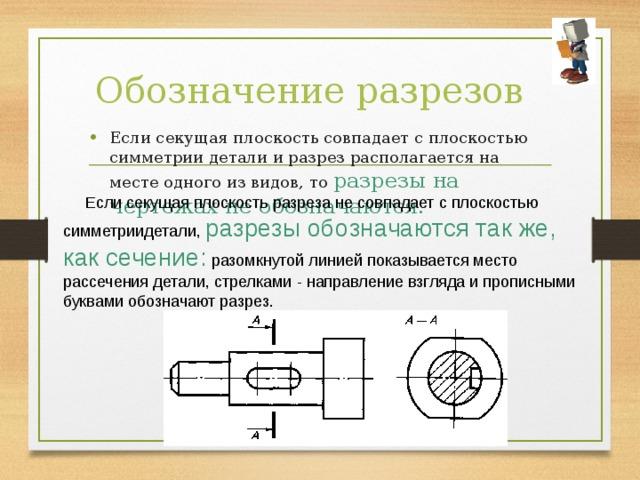 Обозначение разрезов Если секущая плоскость совпадает с плоскостью симметрии детали и разрез располагается на месте одного из видов, то разрезы на чертежах не обозначаются.  Если секущая плоскость разреза не совпадает с плоскостью симметриидетали, разрезы обозначаются так же, как сечение: разомкнутой линией показывается место рассечения детали, стрелками - направление взгляда и прописными буквами обозначают разрез.