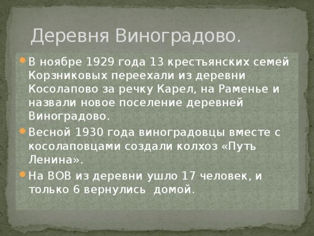 Деревня Виноградово.
