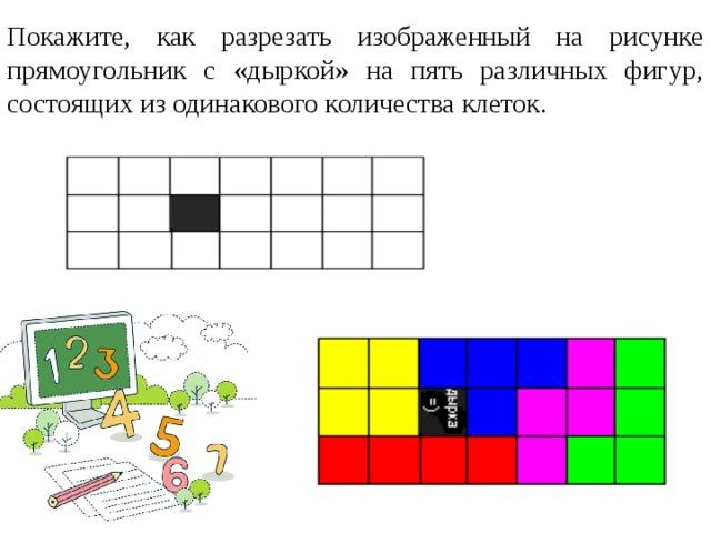 Покажите, как разрезать изображенный на рисунке прямоугольник с «дыркой» на пять различных фигур, состоящих из одинакового количества клеток.