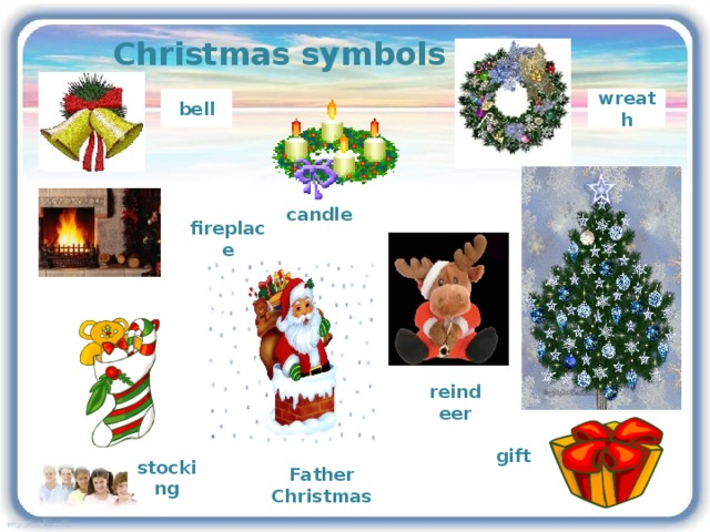 Christmas symbols wreath bell candle fireplace reindeer gift Father Christmas stocking