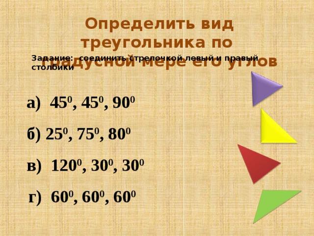 Определить вид треугольника по градусной мере его углов Задание: соединить стрелочкой левый и правый столбики  а) 45 0 , 45 0 , 90 0   б) 25 0 , 75 0 , 80 0   в) 120 0 , 30 0 , 30 0   г) 60 0 , 60 0 , 60 0