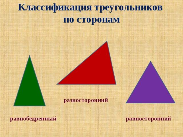 Классификация треугольников  по сторонам   разносторонний равнобедренный равносторонний