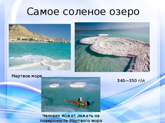 Самое соленое озеро Мертвое море 340—350 г/л Человек может лежать на поверхности Мёртвого моря