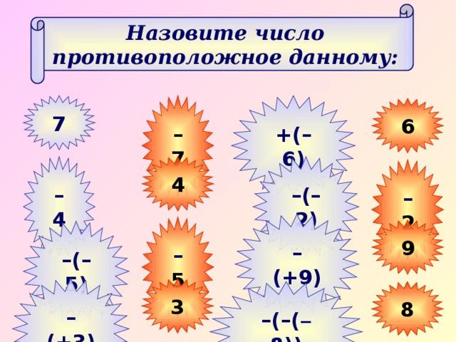 Назовите число противоположное данному: +(–6) –  7 7 6 –  4 4 – (–2) –  2 – (+9) –  5 9 – (–5) 3 – (+3) 8 – (–( – 8))