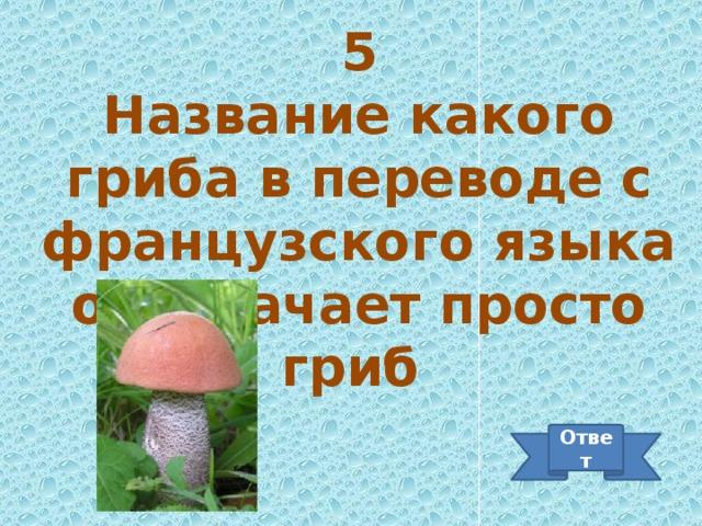 5 Название какого гриба в переводе с французского языка обозначает просто гриб Ответ
