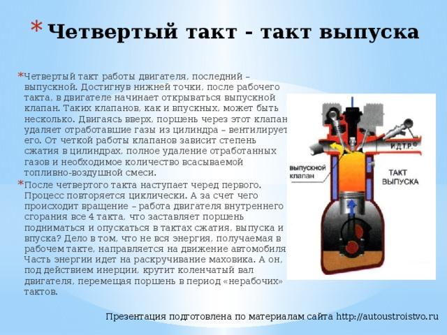 Четвертый такт - такт выпуска   Четвертый такт работы двигателя, последний – выпускной. Достигнув нижней точки, после рабочего такта, в двигателе начинает открываться выпускной клапан. Таких клапанов, как и впускных, может быть несколько. Двигаясь вверх, поршень через этот клапан удаляет отработавшие газы из цилиндра – вентилирует его. От четкой работы клапанов зависит степень сжатия в цилиндрах, полное удаление отработанных газов и необходимое количество всасываемой топливно-воздушной смеси. После четвертого такта наступает черед первого. Процесс повторяется циклически. А за счет чего происходит вращение – работа двигателя внутреннего сгорания все 4 такта, что заставляет поршень подниматься и опускаться в тактах сжатия, выпуска и впуска? Дело в том, что не вся энергия, получаемая в рабочем такте, направляется на движение автомобиля. Часть энергии идет на раскручивание маховика. А он, под действием инерции, крутит коленчатый вал двигателя, перемещая поршень в период «нерабочих» тактов.
