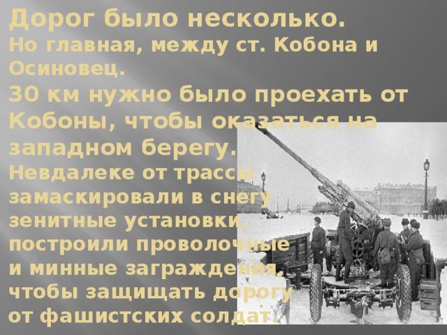 Дорог было несколько.  Но главная, между ст. Кобона и Осиновец.  30 км нужно было проехать от Кобоны, чтобы оказаться на западном берегу.  Невдалеке от трассы  замаскировали в снегу  зенитные установки,  построили проволочные  и минные заграждения,  чтобы защищать дорогу  от фашистских солдат.