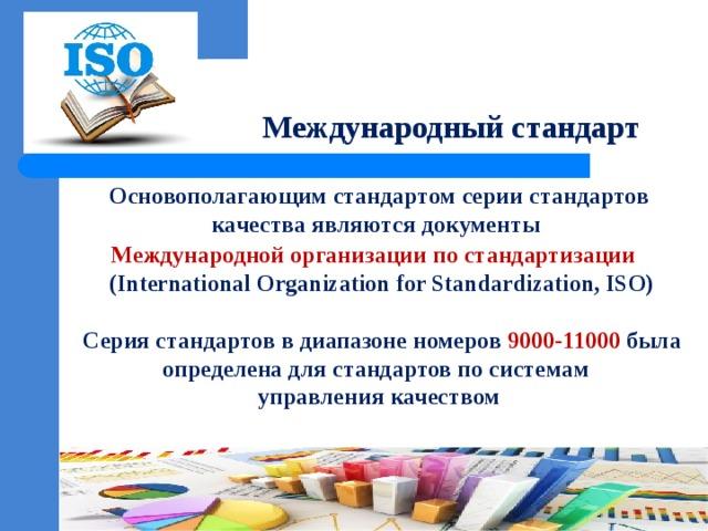 Международный стандарт Основополагающим стандартом серии стандартов качества являются документы Международной организации по стандартизации  (International Organization for Standardization,ISO)   Серия стандартов в диапазоне номеров 9000-11000 была определена для стандартов по системам управления качеством