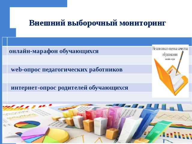 Внешний выборочный мониторинг онлайн-марафон обучающихся  web-опрос педагогических работников  интернет-опрос родителей обучающихся