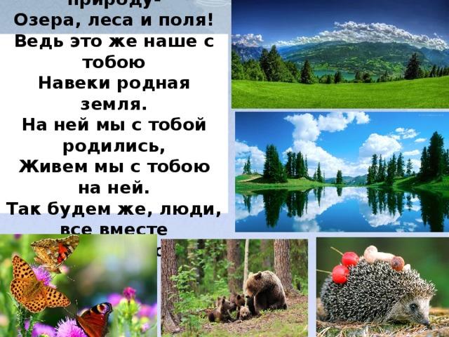 Любите родную природу-  Озера, леса и поля!  Ведь это же наше с тобою  Навеки родная земля.  На ней мы с тобой родились,  Живем мы с тобою на ней.  Так будем же, люди, все вместе  Мы к ней относиться добрей!
