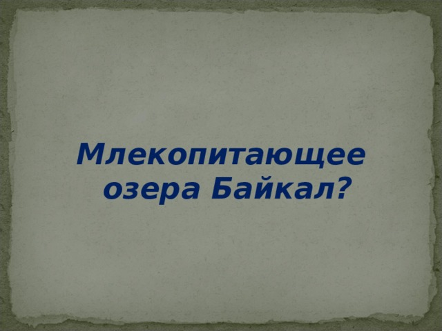 Млекопитающее озера Байкал?