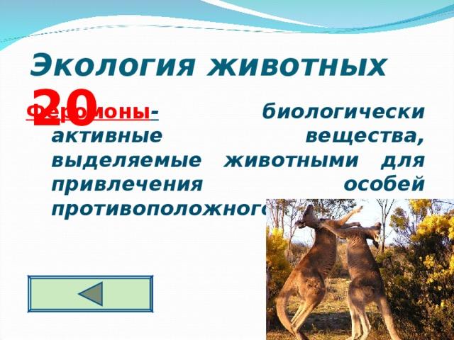 Экология животных  2 0 Феромоны - биологически активные вещества, выделяемые животными для привлечения особей противоположного пола.