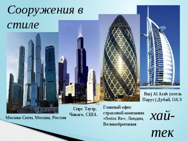 Сооружения в стиле Burj Al Arab (отель Парус) Дубай, ОАЭ Главный офис страховой компании «Swiss Re», Лондон, Великобритания Сирс Тауэр, Чикаго, США. хай-тек Москва-Сити, Москва, Россия