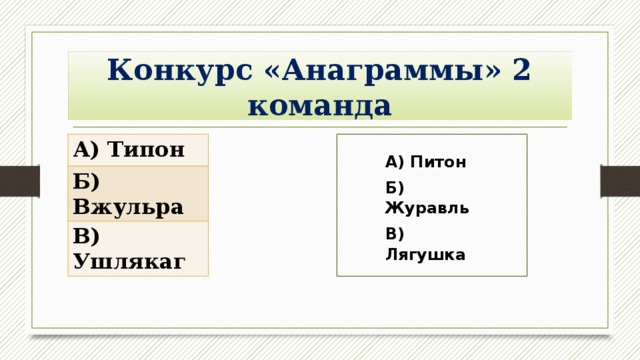 Конкурс «Анаграммы» 2 команда А) Типон Б) Вжульра В) Ушлякаг А) Питон Б) Журавль В) Лягушка