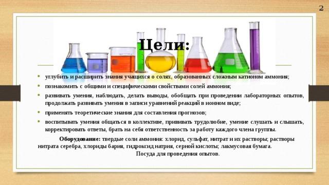 2 Цели: углубить и расширить знания учащихся о солях, образованных сложным катионом аммония; познакомить с общими и специфическими свойствами солей аммония; развивать умения, наблюдать, делать выводы, обобщать при проведении лабораторных опытов, продолжать развивать умения в записи уравнений реакций в ионном виде; применять теоретические знания для составления прогнозов; воспитывать умения общаться в коллективе, прививать трудолюбие, умение слушать и слышать, корректировать ответы, брать на себя ответственность за работу каждого члена группы.  Оборудование: твердые соли аммония: хлорид, сульфат, нитрат и их растворы; растворы нитрата серебра, хлориды бария, гидроксид натрия, серной кислоты; лакмусовая бумага. Посуда для проведения опытов.