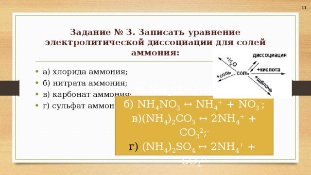 11 Задание № 3. Записать уравнение электролитической диссоциации для солей аммония: а) хлорида аммония; б) нитрата аммония; в) карбонат аммония; г) сульфат аммония.  а) NH 4 Cl↔ NH 4 + + Cl - ; б) NH 4 NO 3 ↔ NH 4 + + NO 3 - ; в)(NH 4 ) 2 CO 3 ↔ 2NH 4 + + CO 3 2 ; - г) (NH 4 ) 2 SO 4 ↔ 2NH 4 + + SO 4 2-