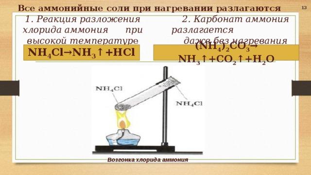 Все аммонийные соли при нагревании разлагаются 13 2. Карбонат аммония разлагается даже без нагревания   1. Реакция разложения хлорида аммония при высокой температур е   (NH 4 ) 2 CO 3 → NH 3 ↑+CO 2 ↑+H 2 O  NH 4 Cl→NH 3 ↑+HCl   Возгонка хлорида аммония