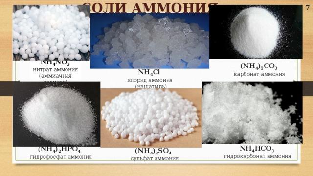 СОЛИ АММОНИЯ 7 NH 4 NO 3 нитрат аммония (аммиачная селитра) (NH 4 ) 2 CO 3  карбонат аммония  NH 4 Cl  хлорид аммония  (нашатырь)  ( NH 4 ) 2 HPO 4   гидрофосфат аммония (NH 4 ) 2 SO 4   сульфат аммония NH 4 HCO 3  гидрокарбонат аммония