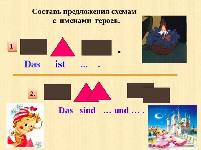 Составь предложения схемам с именами героев. . 1. Das ist  … . 2. Das sind  … und … .