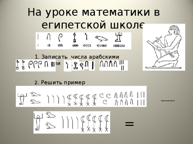 На уроке математики в египетской школе 1. Записать числа арабскими цифрами . Решить пример =