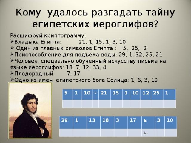 Кому удалось разгадать тайну египетских иероглифов?   Расшифруй криптограмму. Владыка Египта: 21, 1, 15, 1, 3, 10  Один из главных символов Египта : 5, 25, 2 Приспособление для подъема воды: 29, 1, 32, 25, 21 Человек, специально обученный искусству письма на языке иероглифов: 18, 7, 12, 33, 4 Плодородный 7, 17 Одно из имен египетского бога Солнца: 1, 6, 3, 10 5 1 10 - 21 15 1 10 12 25 1 29 1 13 18 3 17 ь 3 ь 10