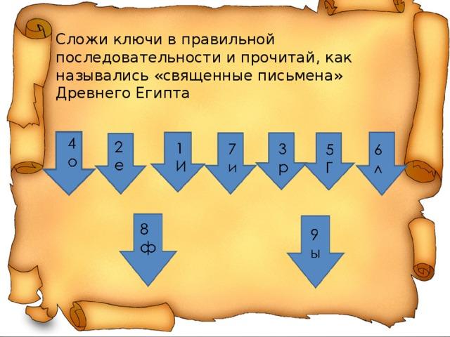 Сложи ключи в правильной последовательности и прочитай, как назывались «священные письмена» Древнего Египта