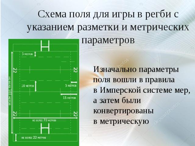 Схема поля для игры в регби с указанием разметки и метрических параметров Изначально параметры поля вошли в правила вИмперской системе мер, а затем были конвертированы вметрическую