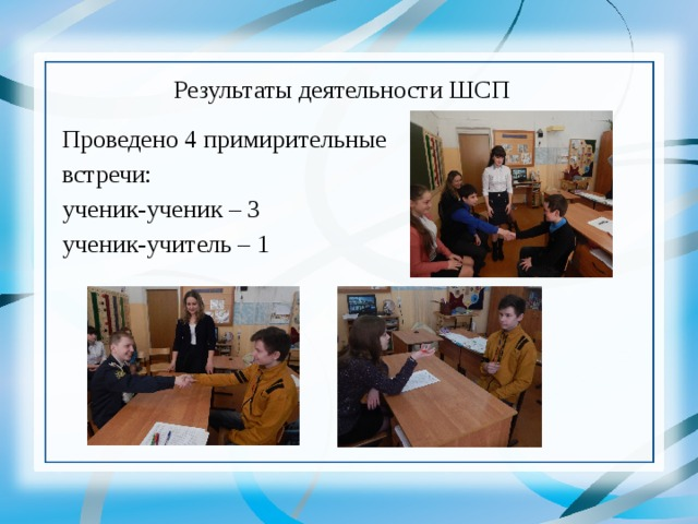 Результаты деятельности ШСП  Проведено 4 примирительные  встречи:  ученик-ученик – 3  ученик-учитель – 1