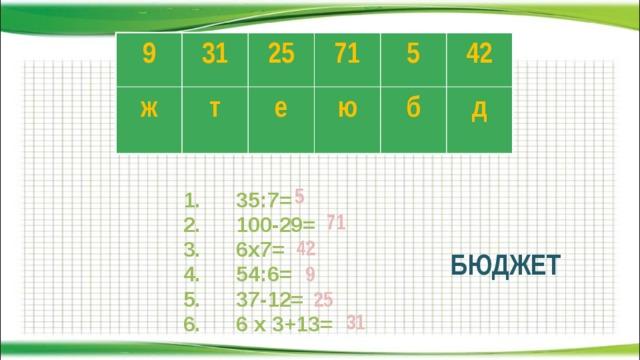 9 31 ж 25 т 71 е ю 5 б 42 д  1. 35:7=  2. 100-29=  3. 6х7=  4. 54:6=  5. 37-12=  6. 6 х 3+13= 5 71 42 БЮДЖЕТ 9 25 31