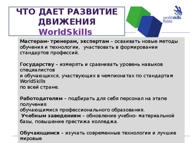 ЧТО ДАЕТ РАЗВИТИЕ ДВИЖЕНИЯ WorldSkills    Мастерам- тренерам, экспертам –  осваивать новые методы обучения и технологии,  участвовать в формировании стандартов профессий.  Государству –  измерять и сравнивать уровень навыков  специалистов и обучающихся, участвующих в чемпионатах по стандартам WorldSkills по всей стране.  Работодателям –  подбирать для себя персонал на этапе  получения обучающимися профессионального образования.  Учебным заведениям –  обновление учебно- материальной базы, повышение престижа колледжа.  Обучающимся –  изучать современные технологии и лучшие мировые  практики, участвовать в региональных, окружных, национальных и международных чемпионатах, получать от работодателей предложения о трудоустройстве, « билет для получения карьерного роста»     NN