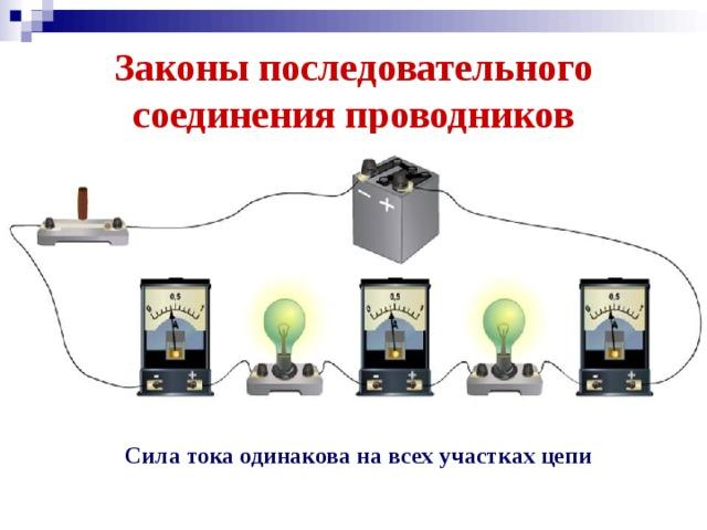 Законы последовательного соединения проводников Сила тока одинакова на всех участках цепи