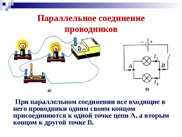 Параллельное соединение проводников  При параллельном соединении все входящие в него проводники одним своим концом присоединяются к одной точке цепи А, а вторым концом к другой точке В.