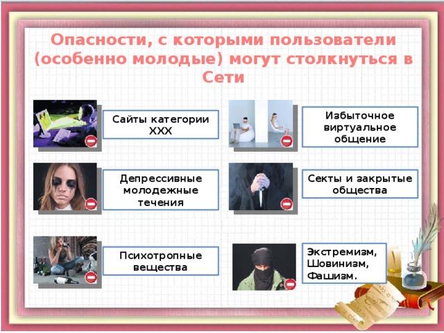 Опасности, с которыми пользователи (особенно молодые) могут столкнуться в Сети Избыточное виртуальное общение Сайты категории ХХХ Депрессивные молодежные течения Секты и закрытые общества Экстремизм, Шовинизм, Фашизм. Психотропные вещества 3