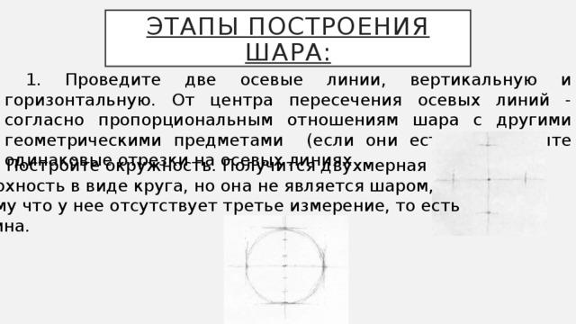 Этапы построения шара: 1. Проведите две осевые линии, вертикальную и горизонтальную. От центра пересечения осевых линий - согласно пропорциональным отношениям шара с другими геометрическими предметами (если они есть) - отложите одинаковые отрезки на осевых линиях  2. Постройте окружность. Получится двухмерная поверхность в виде круга, но она не является шаром, потому что у нее отсутствует третье измерение, то есть глубина.