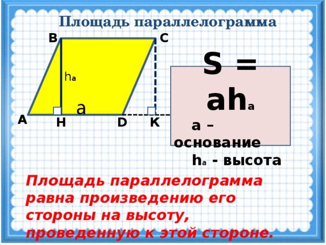 Площадь параллелограмма С В S = ah а  а – основание  h а - высота h а a А Н К D Площадь параллелограмма равна произведению его стороны на высоту, проведенную к этой стороне.