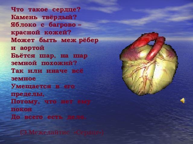 Что такое сердце? Камень твёрдый? Яблоко с багрово – красной кожей? Может быть меж рёбер и аортой Бьётся шар, на шар земной похожий? Так или иначе всё земное Умещается в его пределы, Потому, что нет ему покоя До всего есть дело.  (Э.Межелайтис «Сердце» )