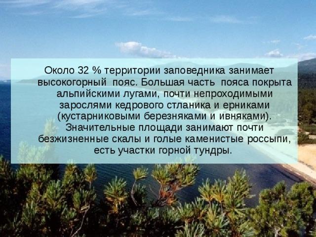 Около 32 % территории заповедника занимает высокогорный пояс. Большая часть пояса покрыта альпийскими лугами, почти непроходимыми зарослями кедрового стланика и ерниками (кустарниковыми березняками и ивняками). Значительные площади занимают почти безжизненные скалы и голые каменистые россыпи, есть участки горной тундры.