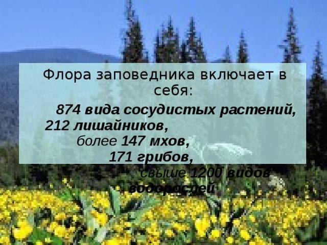Флора заповедника включает в себя:  874 вида сосудистых растений, 212 лишайников, более 147 мхов, 171 грибов, свыше 1200 видов водорослей