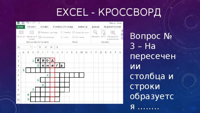 Excel - кроссворд Вопрос № 3 – На пересечении столбца и строки образуется …….. таблицы в в о д г а к н и