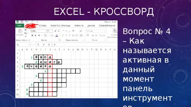 Excel - кроссворд Вопрос № 4 – Как называется активная в данный момент панель инструментов в в о д а г и н к к я ч е й а