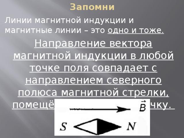 Запомни Линии магнитной индукции и магнитные линии – это одно и тоже. Направление вектора магнитной индукции в любой точке поля совпадает с направлением северного полюса магнитной стрелки, помещённой в данную точку.