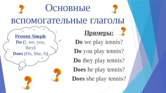 Основные вспомогательные глаголы Present Simple Do (I, we, you, they) Does (He, She, It) Примеры: Do we play tennis? Do you play tennis? Do they play tennis? Does he play tennis? Does she play tennis?