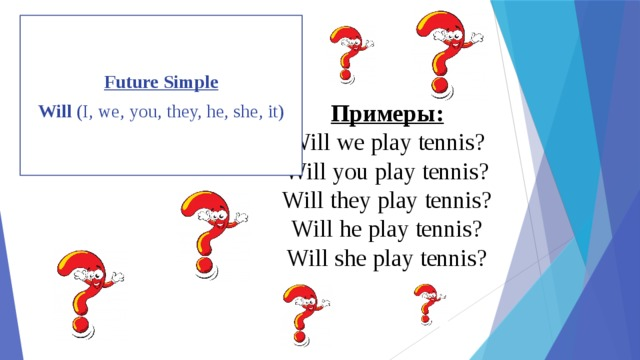 Future Simple Will (I, we, you, they, he, she, it) Примеры:  Will we play tennis?  Will you play tennis?  Will they play tennis?  Will he play tennis?  Will she play tennis?