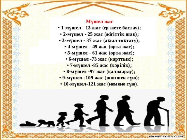 Мүшел жас  • 1-мүшел - 13 жас (ер жете бастау);  • 2-мүшел - 25 жас (жігіттік шақ);  • 3-мүшел - 37 жас (ақыл тоқтату);  • 4-мүшел - 49 жас (орта жас);  • 5-мүшел - 61 жас (орта жас);  • 6-мүшел -73 жас (қарттық);  • 7-мүшел -85 жас (кәрілік);  • 8-мүшел -97 жас (қалжырау);  • 9-мүшел -109 жас (шөпшек сүю);  • 10-мүшел-121 жас (немене сүю).
