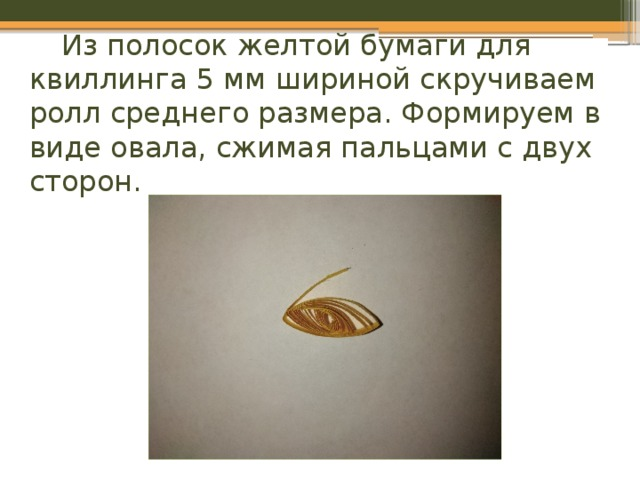 Из полосок желтой бумаги для квиллинга 5 мм шириной скручиваем ролл среднего размера. Формируем в виде овала, сжимая пальцами с двух сторон.