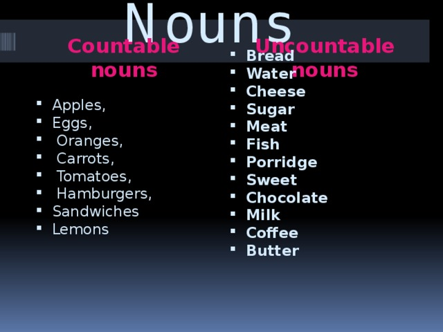 Nouns Countable nouns Uncountable nouns
