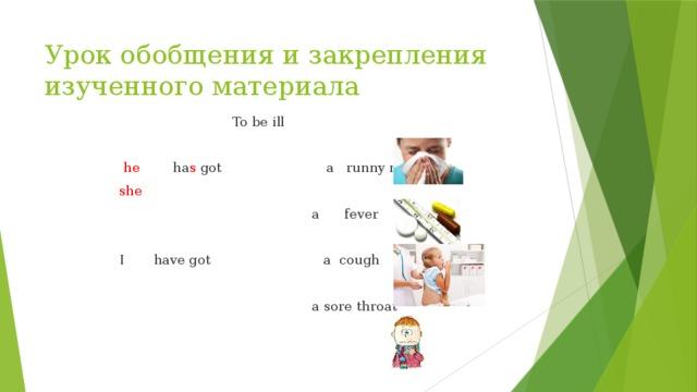 Урок обобщения и закрепления изученного материала  To be ill    he ha s got a runny nose  she  a fever  I have got a cough  a sore throat