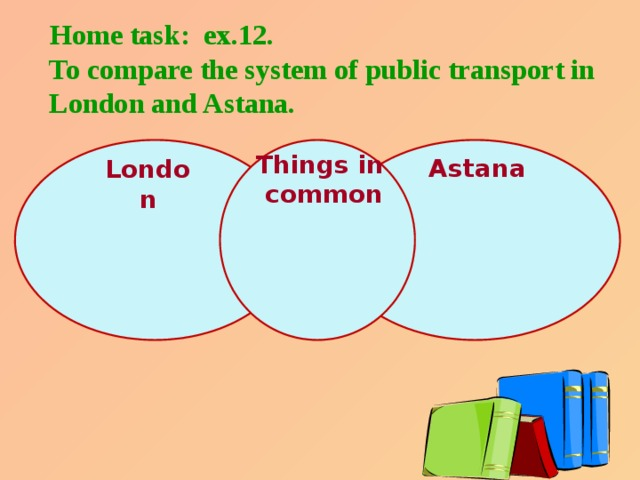 Home task: ex.12.  To compare the system of public transport in  London and Astana. Things in  common Astana London