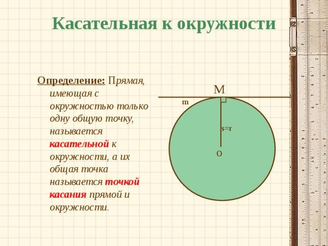 Касательная к окружности Определение:  П рямая, имеющая с окружностью только одну общую точку, называется касательной к окружности, а их общая точка называется точкой касания прямой и окружности.  M m s = r O